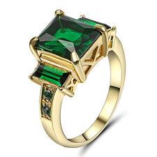 Princess Cut Green Emerald Wedding Ring Gold Rhodium Plated Jewelry Size 6 Gift