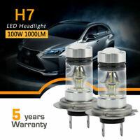 1Pair H7 CAR LED Headlight 100W 150000LM Foglight Bulbs 6000K Driving DRL Lamp
