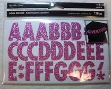 """PINK GLITTER Upper Case 1.25"""" tall Alphabet Stickers (126 pcs) by Recollections"""