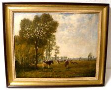 Kühe auf der Weide - ein echtes altes Ölgemälde Maler Bernhard Büter Düsseldorf