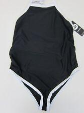 5c6b7f232092 Boohoo Women's Maternity Jess Color Block Swimsuit US 8 Black NWT