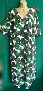New LIVE UNLIMITED Uk 18 Silky Green Leaves Floral Long Beach Kaftan 2pc Dress