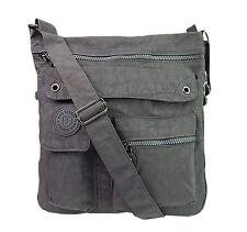 leichte Damen Schultertasche Umhängetasche Nylon Damentasche Handtasche Neu grau