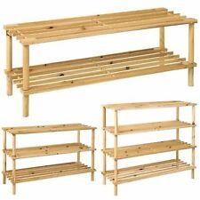 2 3 4 Tier Shoe Rack Natural Wooden Storage Organiser Footwear Shelf Stand Rack