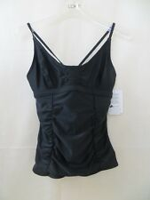 NWT Athleta Swim Tankini Sz 34 B/C Black Smocked Tankini Swim Sporty Workout