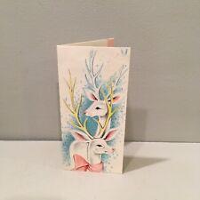Vintage Christmas Card White Pink Deer Art Guild Of Williamsburg