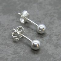 925 Sterling Silver 4mm BALL STUD EARRINGS with backs - wholesale findings