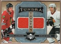 DUNCAN KEITH BRENT SEABROOK 2007/08 UD Upper Deck ARTIFACTS GAME JERSEY #01/50!