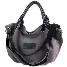 Canvas Tasche Shopper Umhängetasche Damentasche Handtasche Baumwollstoff grau