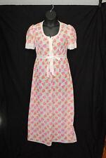 VTG 1970s Hanro of Switzerland Size 14 Robe Gown Set White Pink Orange Floral