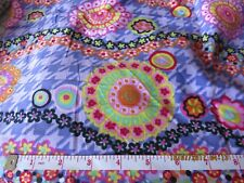 "#2533 Bright Colored Flowers & More Small Ribbed Corduroy 18"" X 42"" 100% Cotton"