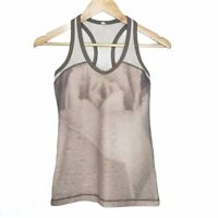 Lululemon Racerbank Tank Top Sz 6 Women's Mesh Workout Gym Activewear Brown