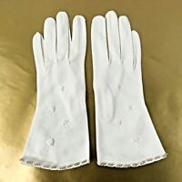 "Vintage Hansen Formal Gold Beaded Evening Gloves White Embellished 9.75"" Long"