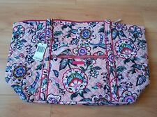 NEW VERA BRADLEY Large Iconic Miller Travel Bag Stitched Flowers Floral Pink