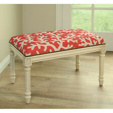 BENCHES - CORAL SEA UPHOLSTERED BENCH - VANITY BENCH - CORAL LINEN SEAT CUSHION