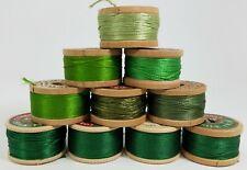 Lot 10 Vintage Wood Silk Thread Spools Green - Coats & ClarkBelding Corticelli