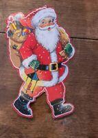 """Vintage SANTA CLAUS Die-Cut Paper CHRISTMAS Decoration 6.5"""""""