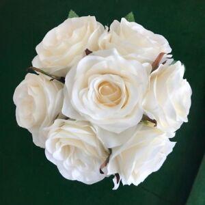 Silk Cream Ivory Rose Roses Posy Wedding Flower Bouquet Flowers