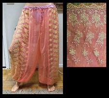Harem Pants Belly Dance Salmon Pink w/ Gold Brocade Slit 2