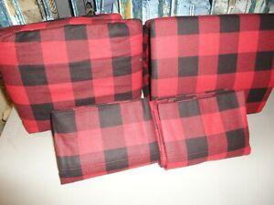 PENDLETON  BLACK & RED ROB ROY FLANNEL PLAID CHECK (4PC) KING SHEET SET WINTER