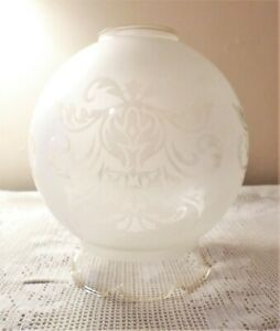 VINTAGE Glass LIGHT SHADE Vintage FROSTED Ornate PENDANT or WALL LIGHT B