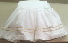 Pottery Barn Twin Bed Skirt White Embroidered Pearl Yellow Gold