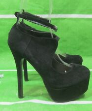 "NEW Black 6""Stiletto High Heel 1.5""Platform Ankle Strap Sexy Shoes Size 7.5"