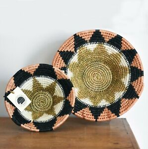 Pink Blush Woven basket | ethical fruit bowl | African wall art | table decor