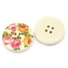 """10 Bottoni in Legno per Cucito Craft rosa e giallo design con Rose 30mm (1 1/8"""")"""