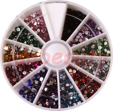 6cm NAIL ART GEMS JEWELS DESIGN CRAFT NAILS WHEEL 2mm ROUND MIXED COLOUR GEMS