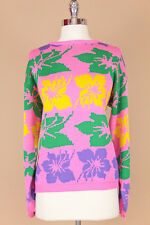 VTG 80s BOHO Slouchy *PINK HIBISCUS* Knit OVERSIZED Draped SWEATER Jumper S-M