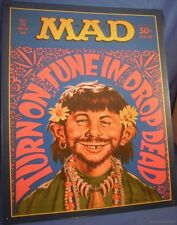MAD 1968 VINTAGE HIPPIE METAL TIN SIGN TURN ON IN OUT magazine alfred e newman
