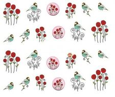 Nail Art Decals Transfers Stickers Valentines Red Roses Birds (A-332)