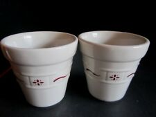 """2 Longaberger Planters Candle Holder Woven Traditions Small 3"""" Tall Red Euc"""