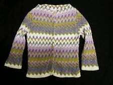 Vtg Cardigan Sweater Purple Zig Zag Chevron 3/4 Slv Cotton Rockabilly S/XS