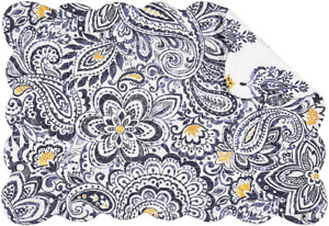 SERENA Paisley Quilted Reversible Placemat by C&F - Navy, Blue, Gold, White