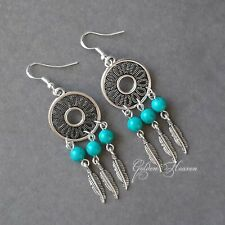 Very long feathers boho Turquoise earrings 925 Sterling Silver Hook Tibetan