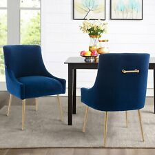 Set of 2 Elegant Velvet Modern Dining Chairs Elowen Chairs Gold Handle and Legs