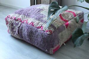 Vintage Moroccan Boujad Floor Pillow/Berber Pouf 'Amethyst'