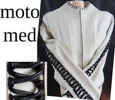 White Leather biker lace up medium jacket moto coat black bdsm motorcycle riding