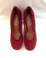 """Jeffrey Campbell"" Hidden Platform Pump In Cranberry Suede, Size 9"