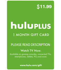 Hulu Plus Card 1 Month  - No commercials - Fast Delivery - Free Shipping