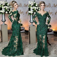 Dark Green Mermaid Mother of the Bride Dresses Lace Applique Evening Prom Gowns