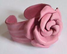 ROSE CUFF bracelet PINK faux leather fashion flower EUC
