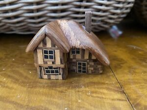 Small Hand Carved Wooden House Sculptures