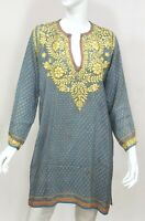 INDIAN INDIA 100% SILK HAND EMBROIDERED LONG TUNIC BLOUSE TOP KURTI LARGE