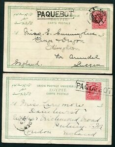 1903-05 GB 1d used on postcards from Aden each with 'PAQUEBOT' marking