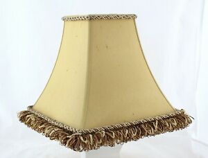 "Beige Silk Soft Back Lamp Shade with Fringe (5""x5"") x (11""x11"") x 10"""