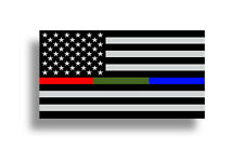 Police Fire Military Fireman Sticker Red Blue Green USA Flag Car Window Decal HD