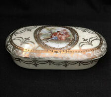Vintage Antique VICTORIA WARE Porcelain Oval TRINKET Vanity BOX Raised Gold